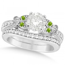 Round Diamond & Peridot Butterfly Bridal Set in 14k White Gold 0.96ct