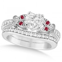 Heart Diamond & Ruby Butterfly Bridal Set in 14k White Gold (0.96ct)