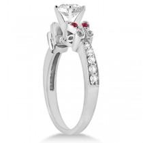 Princess Diamond & Ruby Butterfly Bridal Set 14k White Gold (1.71ct)
