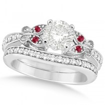 Round Diamond & Ruby Butterfly Bridal Set in 14k White Gold (1.21ct)
