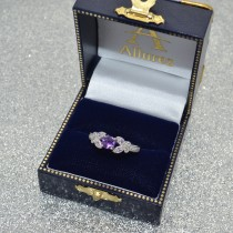 Butterfly Amethyst & Diamond Engagement Ring 14K White Gold 0.88ctw