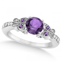 Butterfly Amethyst & Diamond Engagement Ring 14K White Gold 1.28ctw
