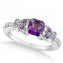 Butterfly Amethyst & Diamond Princess Engagement 14k W Gold 1.28ct
