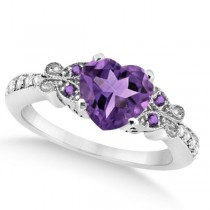 Butterfly Amethyst & Diamond Heart Engagement Ring 14K W Gold 1.73ct