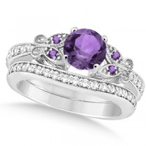Butterfly Amethyst & Diamond Bridal Set 14k White Gold 1.10ctw