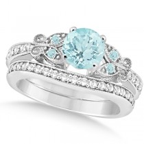 Preset Butterfly Aquamarine & Diamond Bridal Set 14k White Gold 1.45ct