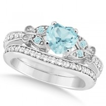 Butterfly Aquamarine & Diamond Heart Bridal Set 14k White Gold 1.55ct