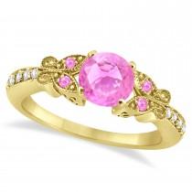 Preset Butterfly Aquamarine & Diamond Bridal Set 14k Yellow Gold 0.95ct