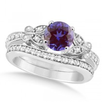 Butterfly Alexandrite & Diamond Bridal Set 14k White Gold 1.10ct
