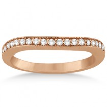 Curved Lab Grown Diamond Wedding Band 18k Rose Gold (0.22ct)