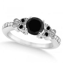 Butterfly Black & White Diamond Bridal Set 14k White Gold 0.89ct