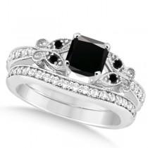 Butterfly Black and White Diamond Princess Bridal Set 14k W Gold 1.5ct