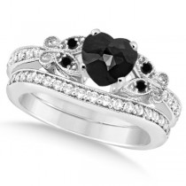 Butterfly Black and White Diamond Heart Bridal Set 14k W Gold 2.64ct