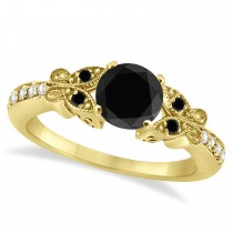Butterfly Black and White Diamond Engagement Ring 18K Yellow Gold .92ct