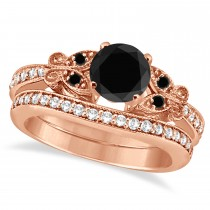 Butterfly Black & White Diamond Bridal Set 18K Rose Gold 0.89ct