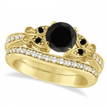 Butterfly Black and White Diamond Bridal Set 18K Yellow Gold 1.14ct
