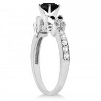 Butterfly Black and White Diamond Bridal Set Platinum (1.64ct)