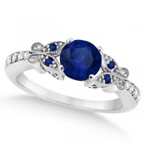 Butterfly Blue Sapphire & Diamond Engagement Ring 14K White Gold .88ct