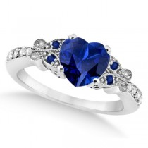 Butterfly Blue Sapphire & Diamond Heart Engagement 14K W Gold 1.73ct