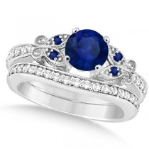 Butterfly Blue Sapphire & Diamond Bridal Set 14k White Gold 1.50ct