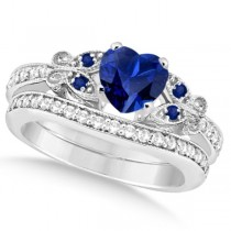 Butterfly Blue Sapphire & Diamond Heart Bridal Set 14k W Gold 1.55ct