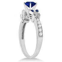 Butterfly Blue Sapphire & Diamond Heart Bridal Set 14k W Gold 1.95ct