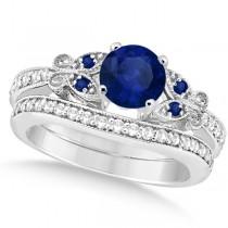 Butterfly Blue Sapphire & Diamond Bridal Set Platinum (1.10ct)
