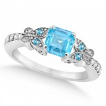Butterfly Blue Topaz & Diamond Princess Ring 14K White Gold 1.33ct
