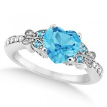 Butterfly Blue Topaz & Diamond Heart Engagement Ring 14K W Gold 2.48ct