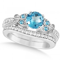 Butterfly Blue Topaz & Diamond Bridal Set 14k White Gold 1.50ct