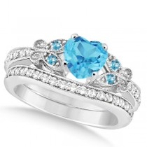 Butterfly Blue Topaz & Diamond Heart Bridal Set 14k W Gold 2.70ct