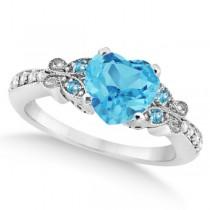 Butterfly Blue Topaz & Diamond Heart Bridal Set 14k W Gold 2.70ct