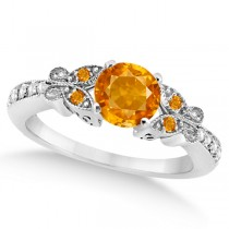 Butterfly Genuine Citrine & Diamond Engagement Ring 14K W. Gold 0.88ct
