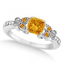 Butterfly Citrine & Diamond Princess Engagement Ring 14k W Gold 1.33ct