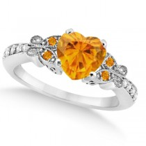 Butterfly Genuine Citrine & Diamond Heart Engagement 14K W Gold 1.73ct