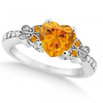 Butterfly Genuine Citrine & Diamond Heart Engagement 14K W Gold 2.48ct