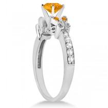 Butterfly Genuine Citrine & Diamond Heart Engagement 14K W Gold 2.48ct