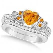 Butterfly Genuine Citrine & Diamond Heart Bridal Set 14k W Gold 1.55ct