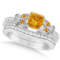 Butterfly Citrine & Diamond Princess Bridal Set 14k White Gold 1.55ct