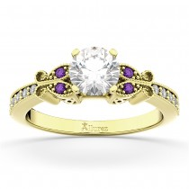 Butterfly Diamond & Amethyst Engagement Ring 14k Yellow Gold (0.20ct)