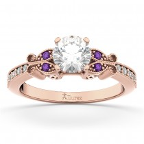 Butterfly Diamond & Amethyst Engagement Ring 18k Rose Gold (0.20ct)