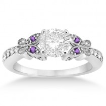 Butterfly Diamond & Amethyst Engagement Ring Palladium (0.20ct)