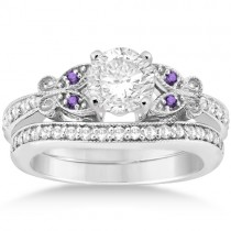 Butterfly Diamond & Amethyst Bridal Set Palladium (0.42ct)