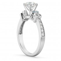 Butterfly Diamond & Aquamarine Engagement Ring 14k White Gold (0.20ct)