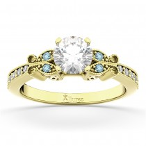 Butterfly Diamond & Aquamarine Engagement Ring 14k Yellow Gold (0.20ct)
