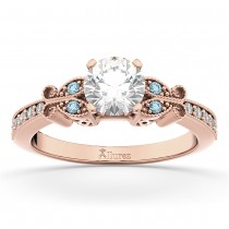 Butterfly Diamond & Aquamarine Engagement Ring 18k Rose Gold (0.20ct)