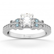 Butterfly Diamond & Aquamarine Engagement Ring 18k White Gold (0.20ct)
