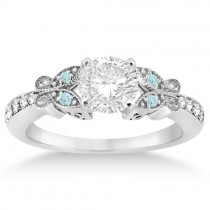 Butterfly Diamond & Aquamarine Engagement Ring Platinum (0.20ct)