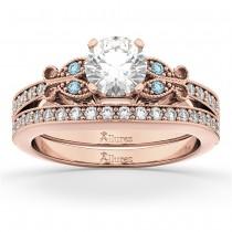 Butterfly Diamond & Aquamarine Bridal Set 14k Rose Gold (0.42ct)