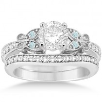 Butterfly Diamond &  Aquamarine Bridal Set 18k White Gold (0.42ct)
